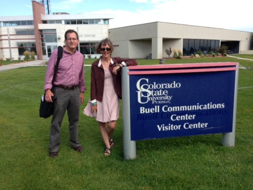 Jeff Roberts and Sandra Fish at Colorado State University in Pueblo on Aug. 7.