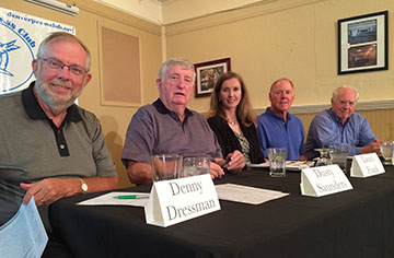 Former Rocky staffers (from left) Denny Dressman, Dusty Saunders, Laura Frank, Mike Madigan and Mark Wolf.