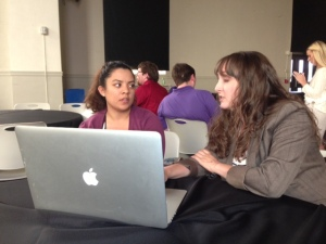 SPJ Utah Headliners Chapter president McKenzie Romero, right, reviews the resume of Michaela Funtanilla of Weber State University April 25 during the Region 9 Conference in Denver.