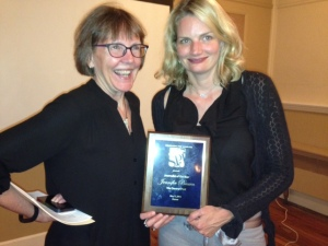 Denver Post reporter Jennifer Brown, right, with her 2015 SPJ Journalist of the Year Award and Sandra Fish.