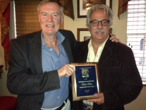 MSU-Denver profession Kenn Bisio, right, with his 2015 SPJ Journalism Educator of the Year Award and Doug Bell.