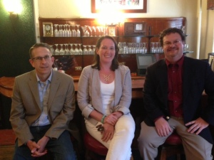 Eric Gorski of The Denver Post, Natasha Gardner of 5280 Magazine and Denver Business Journal reporter Ed Sealover at the July 9 Colorado SPJ program at the Denver Press Club.
