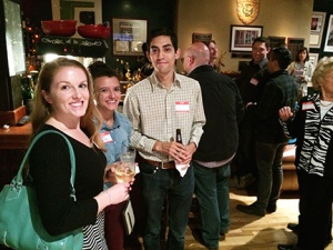 Investigative freelancer April Nowicki, left, Denver Post reporter Elizabeth Hernandez and Fort Collins Coloradoan reporter Adrian Garcia at the journalism meet and greet on Oct. 16 at the Denver Press Club. The event was hosted by the Colorado Pro Chapter of the Society of Professional Journalists.
