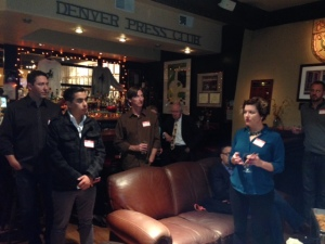 9News KUSA executive producer Nicole Vap answers a question about the Investigative Reporters and Editors organization at the journalism meet and greet social on Oct. 16 at the Denver Press Club, The event was sponsored by the Colorado Pro Chapter of the Society of Professional Journalists.