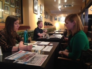 Denver Post internship recruiter Alexandra Alonso, left, interviews Rachael Worthington of Colorado State University at the SPJ College Student Internship and Job Fair on Feb. 19 at the Denver Press Club.