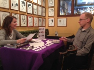Rocky Mountain Public Broadcasting president Laura Frank, left, interviews Jeffrey Will of Metropolitan State University-Denver at the SPJ College Student Internship and Job Fair on Feb. 19 at the Denver Press Club.