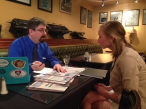 Loveland Reporter-Herald managing editor and Prairie Mountain Media representative Jeff Stahl, left, interviews Ashley Dumas of the University of Central Florida at the SPJ College Student Internship and Job Fair on Feb. 19 at the Denver Press Club.