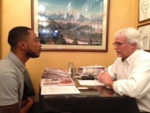 Greeley Tribune editor Randy Bangert, right,interviews Mike Tolbert of Metropolitan State University-Denver at the SPJ College Student Internship and Job Fair on Feb. 19 at the Denver Press Club.