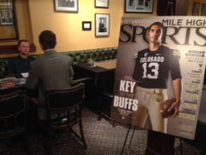 Mile High Sports web editor Michael Jaycox, far left, interviews a student at the SPJ College Student Internship and Job Fair on Feb. 19, at the Denver Press Club.