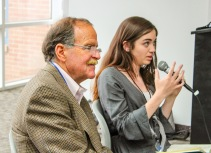 Erin Douglas (right) discusses her experience with public records as Tom Kelley listen to her speak.